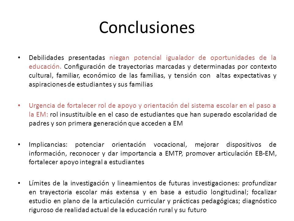 Conclusiones Debilidades presentadas niegan potencial igualador de oportunidades de la educación. Configuración de trayectorias marcadas y determinada