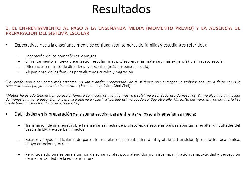 Resultados 1. EL ENFRENTAMIENTO AL PASO A LA ENSEÑANZA MEDIA (MOMENTO PREVIO) Y LA AUSENCIA DE PREPARACIÓN DEL SISTEMA ESCOLAR Expectativas hacia la e