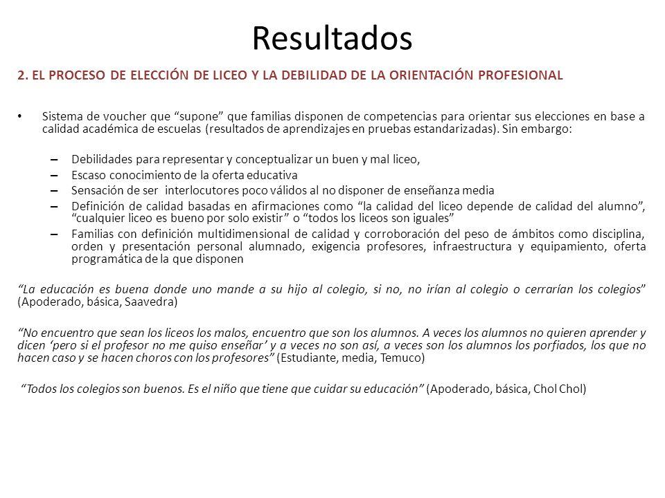 Resultados 2. EL PROCESO DE ELECCIÓN DE LICEO Y LA DEBILIDAD DE LA ORIENTACIÓN PROFESIONAL Sistema de voucher que supone que familias disponen de comp