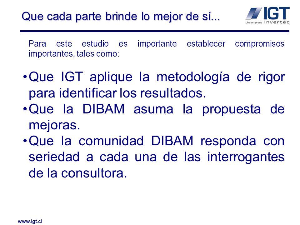 www.igt.cl La DIBAM, IGT y la comunidad en general persiguen el mismo interés: CONTAR CON INFORMACIÓN REAL para poder identificar las soluciones más adecuadas.