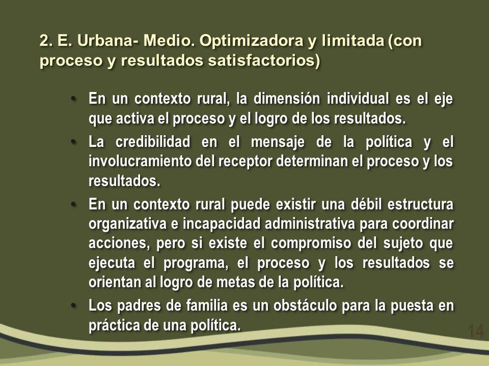 2. E. Urbana- Medio. Optimizadora y limitada (con proceso y resultados satisfactorios) En un contexto rural, la dimensión individual es el eje que act