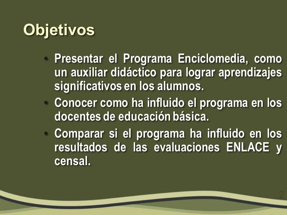 ObjetivosObjetivos Presentar el Programa Enciclomedia, como un auxiliar didáctico para lograr aprendizajes significativos en los alumnos. Presentar el