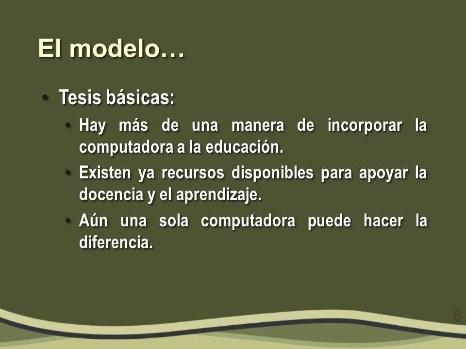 El modelo… Tesis básicas: Tesis básicas: Hay más de una manera de incorporar la computadora a la educación. Hay más de una manera de incorporar la com