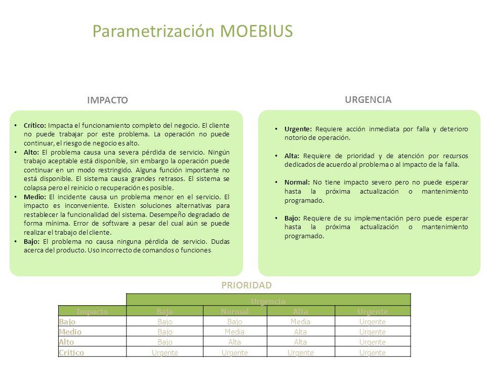 Esquema Parametrización MOEBIUS Crítico: Impacta el funcionamiento completo del negocio.