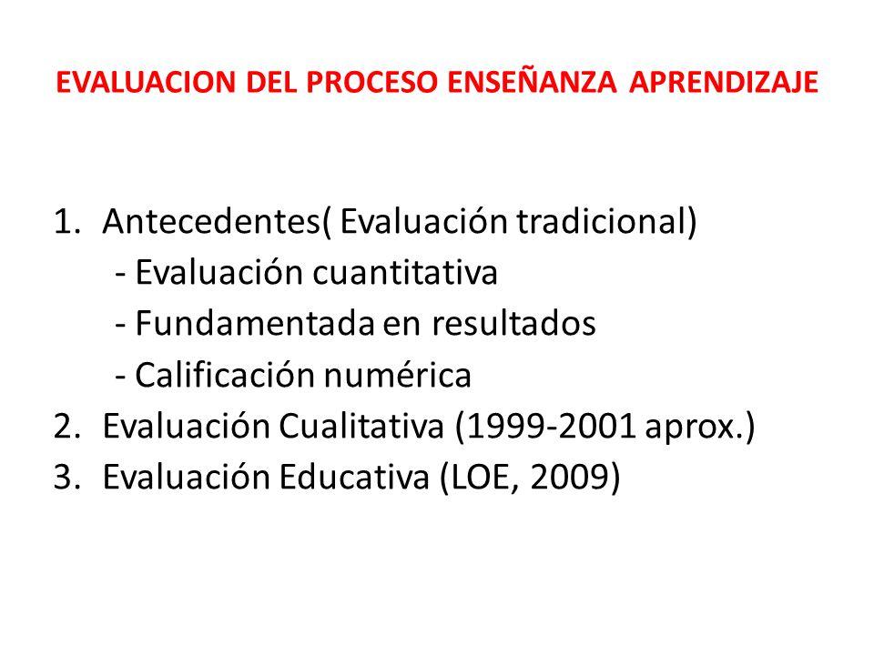 EVALUACION DEL PROCESO ENSEÑANZA APRENDIZAJE 1.Antecedentes( Evaluación tradicional) - Evaluación cuantitativa - Fundamentada en resultados - Califica