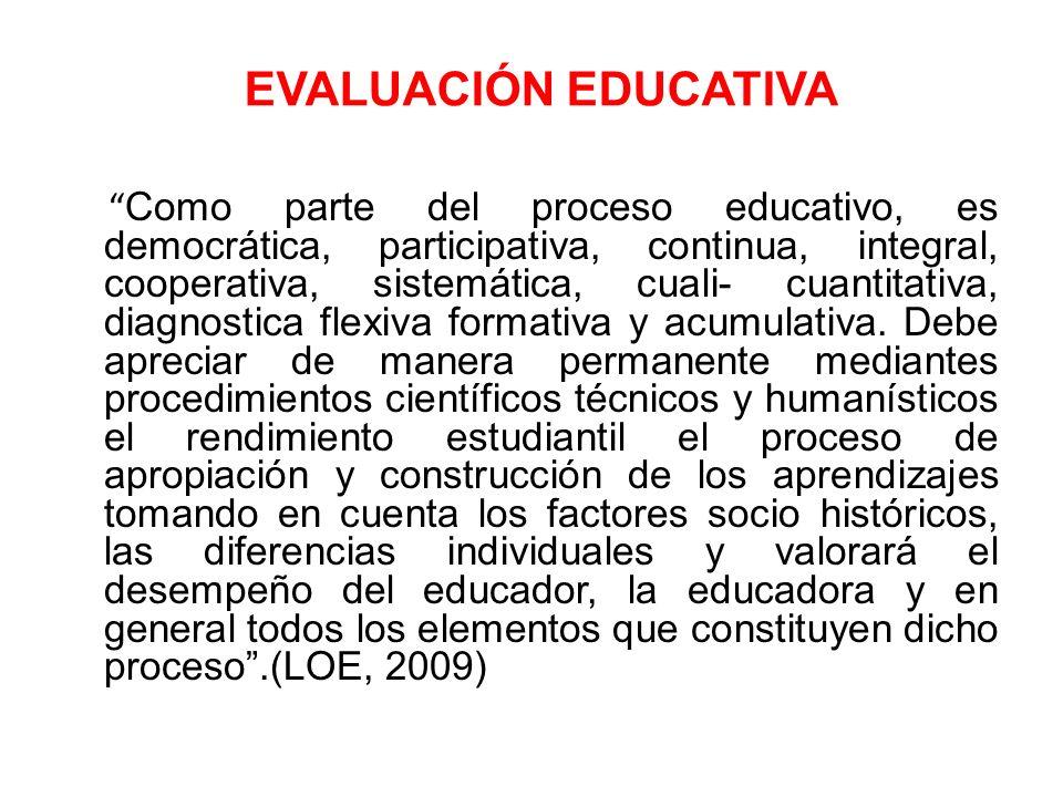 EVALUACIÓN EDUCATIVA Como parte del proceso educativo, es democrática, participativa, continua, integral, cooperativa, sistemática, cuali- cuantitativ