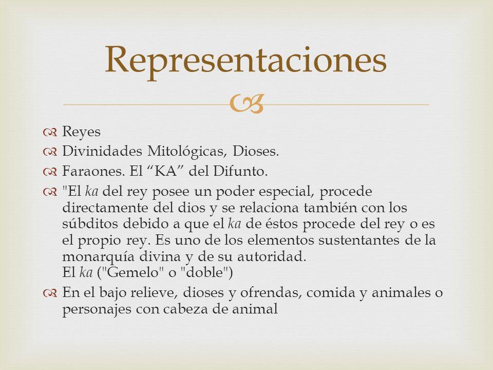 Representaciones Reyes Divinidades Mitológicas, Dioses. Faraones. El KA del Difunto.