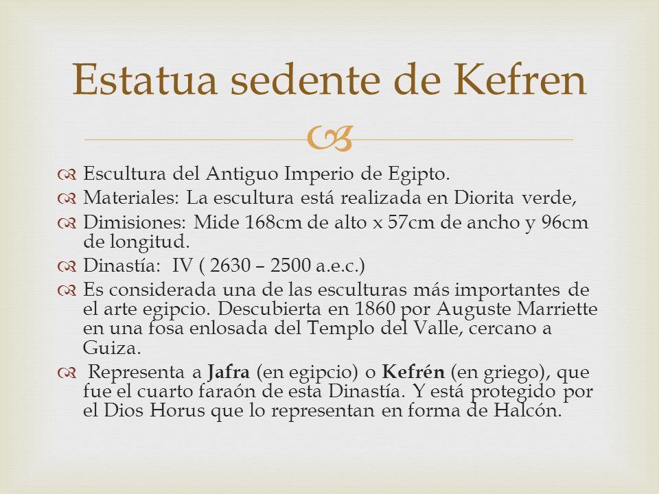 Escultura del Antiguo Imperio de Egipto. Materiales: La escultura está realizada en Diorita verde, Dimisiones: Mide 168cm de alto x 57cm de ancho y 96