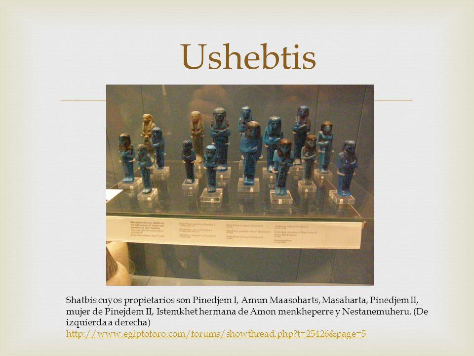 Ushebtis Shatbis cuyos propietarios son Pinedjem I, Amun Maasoharts, Masaharta, Pinedjem II, mujer de Pinejdem II, Istemkhet hermana de Amon menkheper