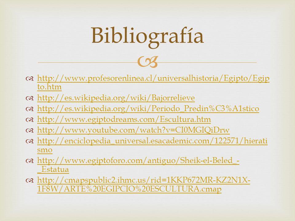 http://www.profesorenlinea.cl/universalhistoria/Egipto/Egip to.htm http://www.profesorenlinea.cl/universalhistoria/Egipto/Egip to.htm http://es.wikipe