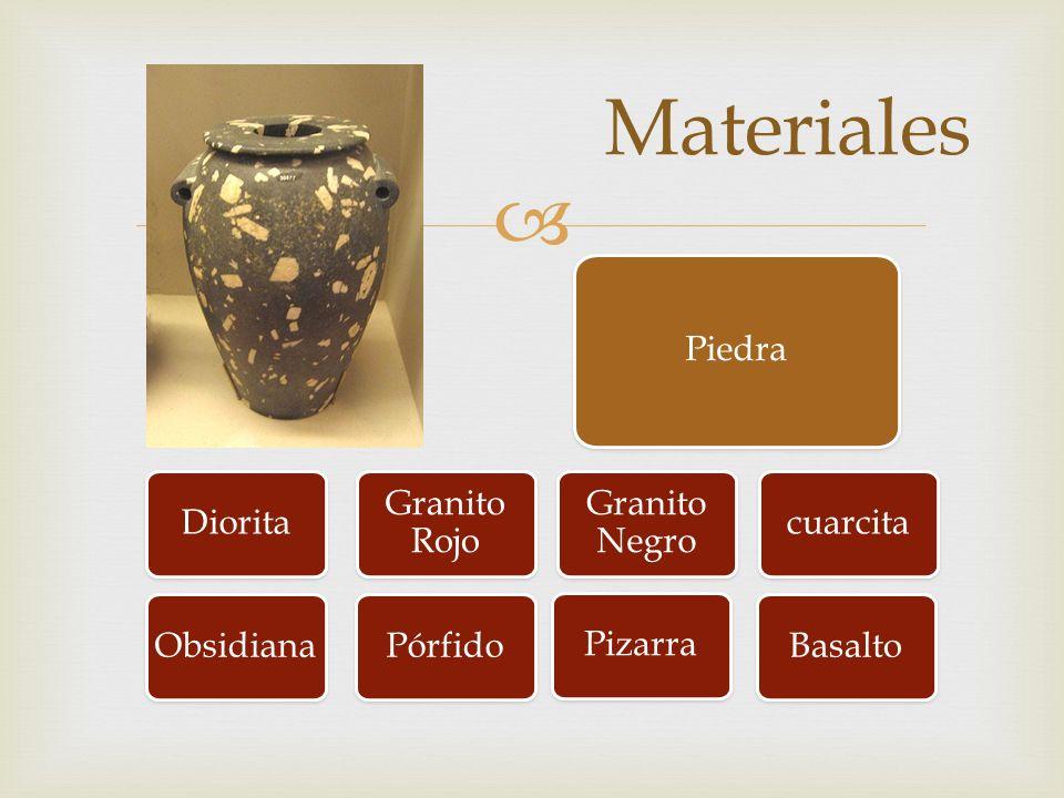 Materiales Piedra Diorita Granito Rojo Granito Negro cuarcita Basalto Pizarra Obsidiana Pórfido