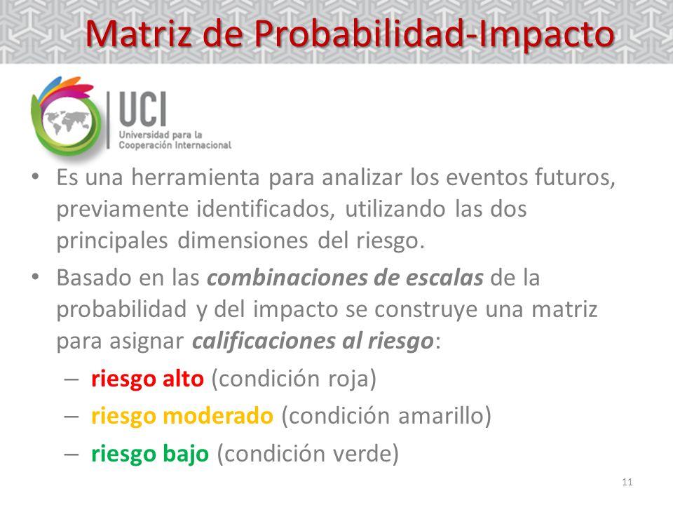 11 Matriz de Probabilidad-Impacto Es una herramienta para analizar los eventos futuros, previamente identificados, utilizando las dos principales dime