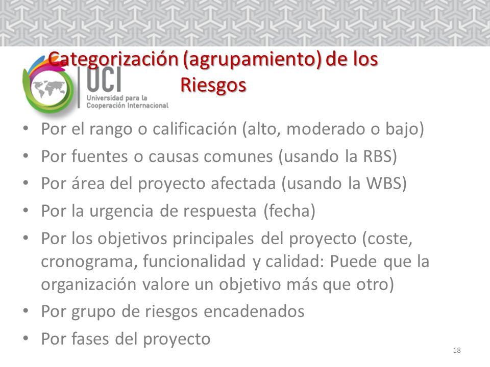 18 Categorización (agrupamiento) de los Riesgos Por el rango o calificación (alto, moderado o bajo) Por fuentes o causas comunes (usando la RBS) Por área del proyecto afectada (usando la WBS) Por la urgencia de respuesta (fecha) Por los objetivos principales del proyecto (coste, cronograma, funcionalidad y calidad: Puede que la organización valore un objetivo más que otro) Por grupo de riesgos encadenados Por fases del proyecto