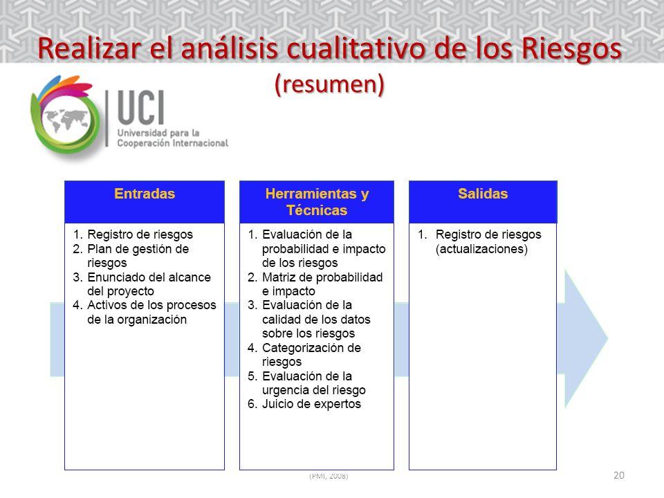 20 Realizar el análisis cualitativo de los Riesgos (resumen) (PMI, 2008)
