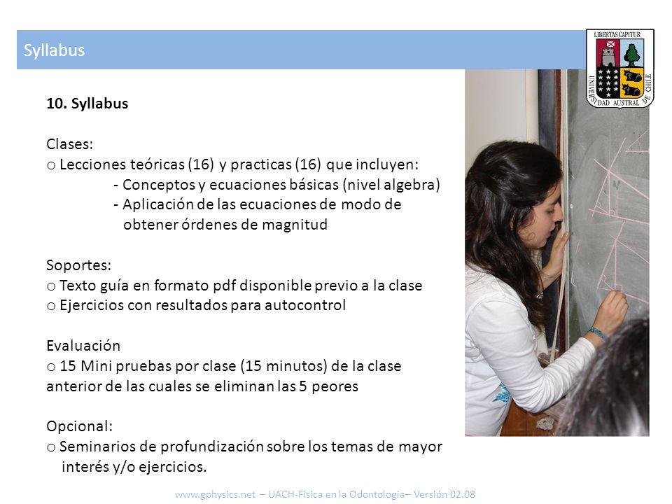 10. Syllabus Clases: o Lecciones teóricas (16) y practicas (16) que incluyen: - Conceptos y ecuaciones básicas (nivel algebra) - Aplicación de las ecu