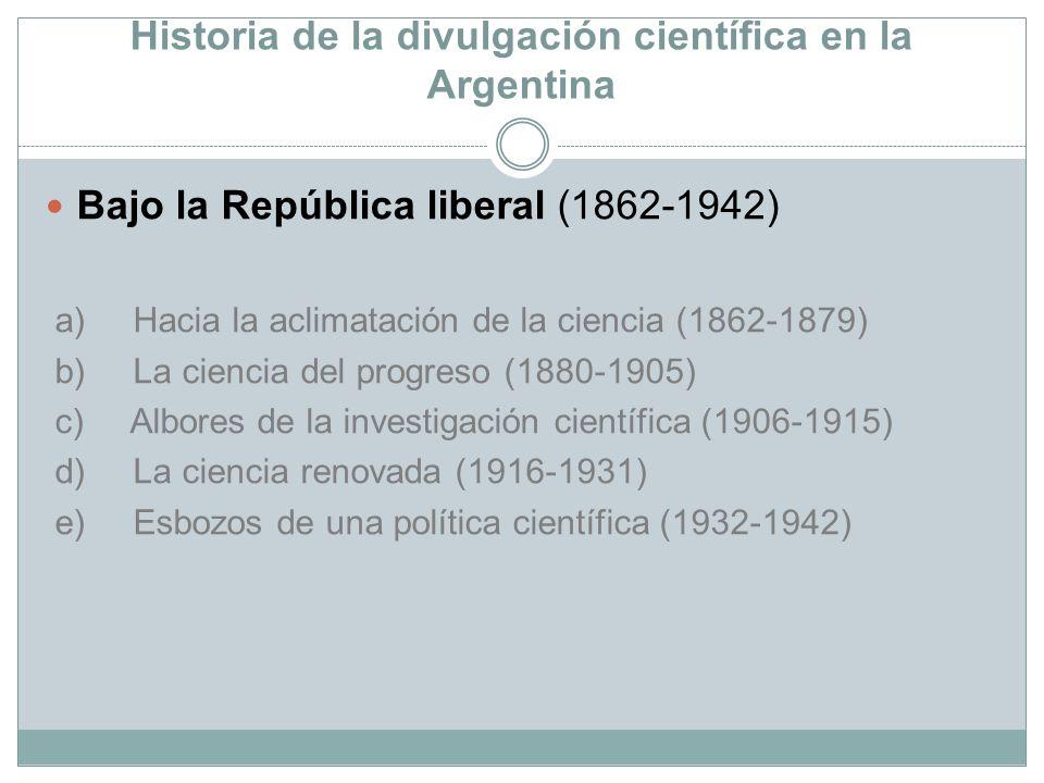 Historia de la divulgación científica en la Argentina Bajo la República liberal (1862-1942) a) Hacia la aclimatación de la ciencia (1862-1879) b) La c