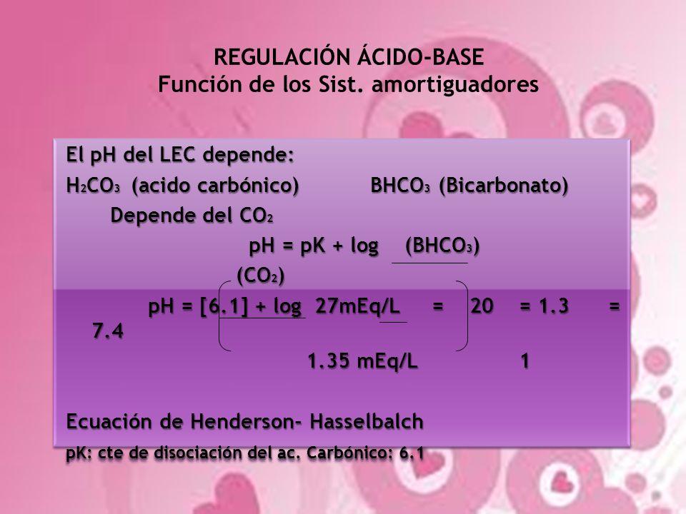 REGULACIÓN ÁCIDO-BASE Función de los Sist. amortiguadores El pH del LEC depende: H 2 CO 3 (acido carbónico) BHCO 3 (Bicarbonato) Depende del CO 2 Depe