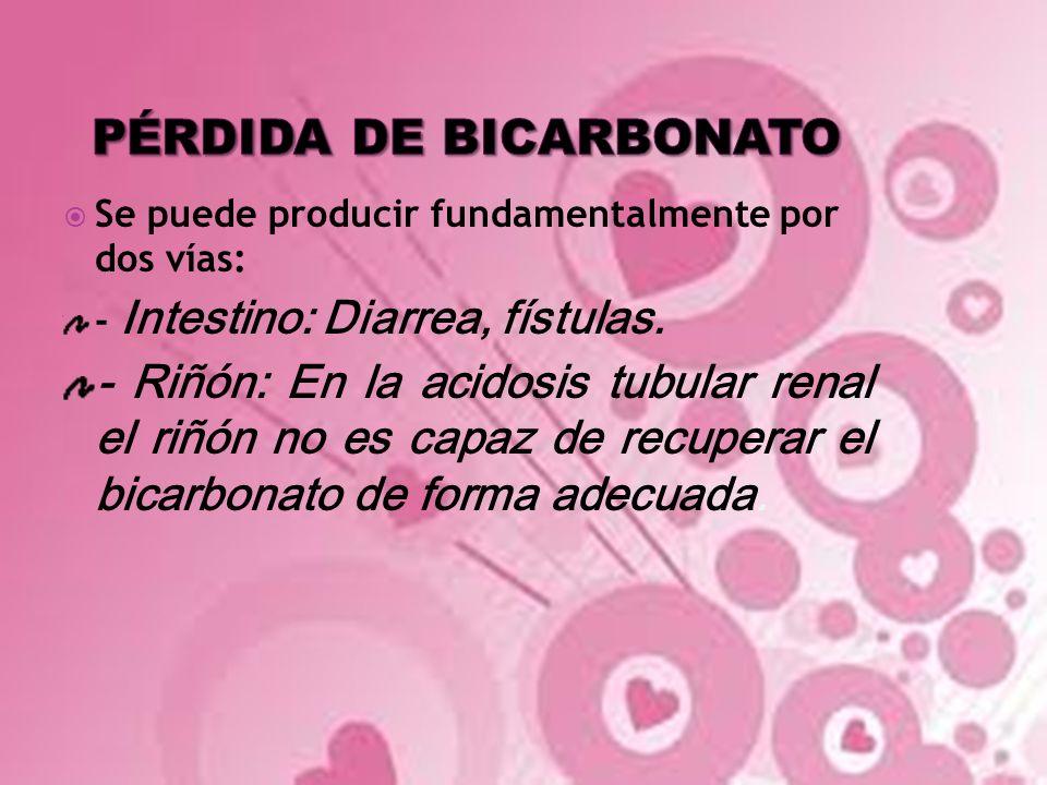 Se puede producir fundamentalmente por dos vías: - Intestino: Diarrea, fístulas. - Riñón: En la acidosis tubular renal el riñón no es capaz de recuper