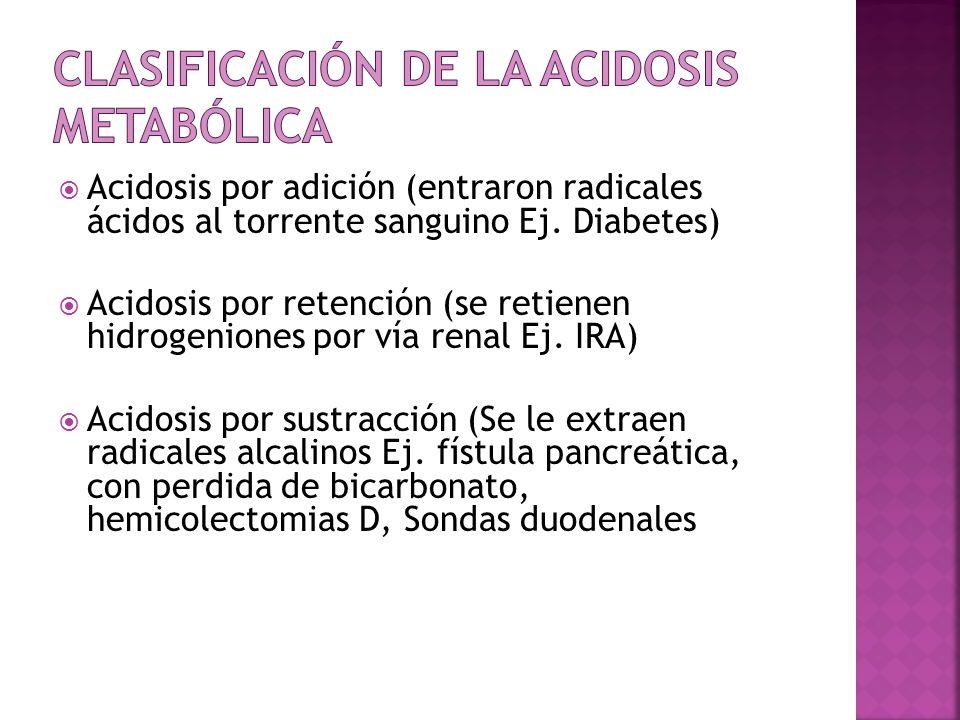 Acidosis por adición (entraron radicales ácidos al torrente sanguino Ej. Diabetes) Acidosis por retención (se retienen hidrogeniones por vía renal Ej.