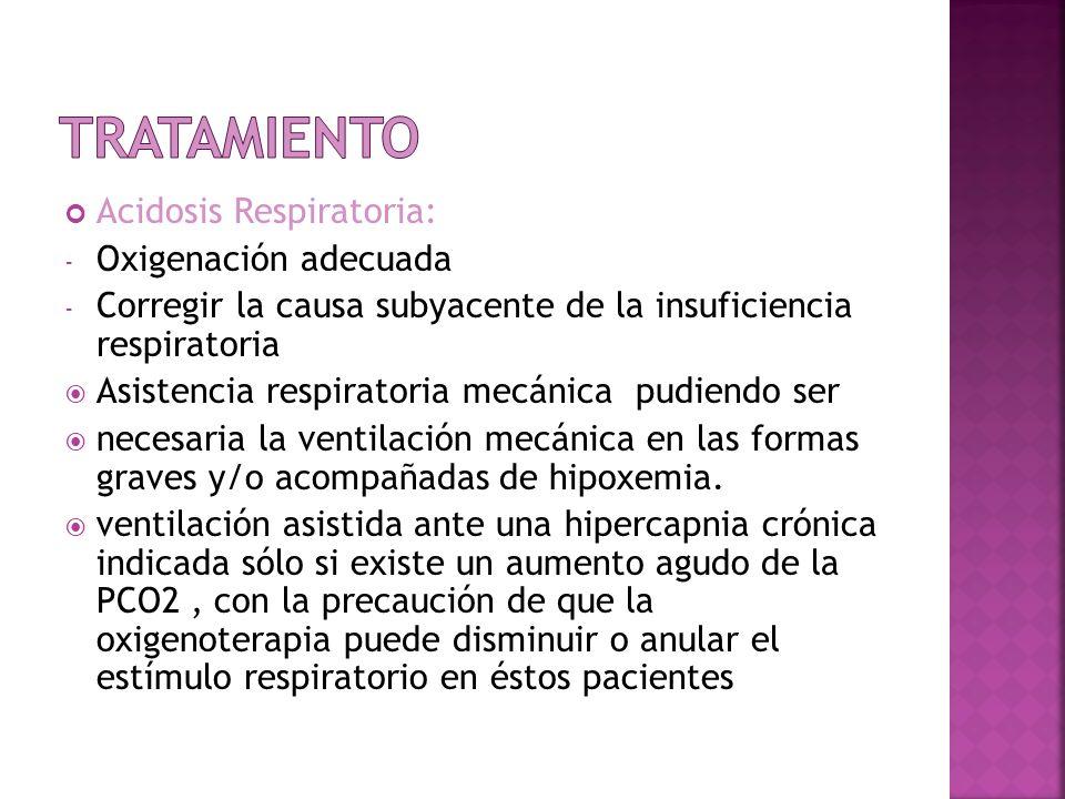 Acidosis Respiratoria: - Oxigenación adecuada - Corregir la causa subyacente de la insuficiencia respiratoria Asistencia respiratoria mecánica pudiend