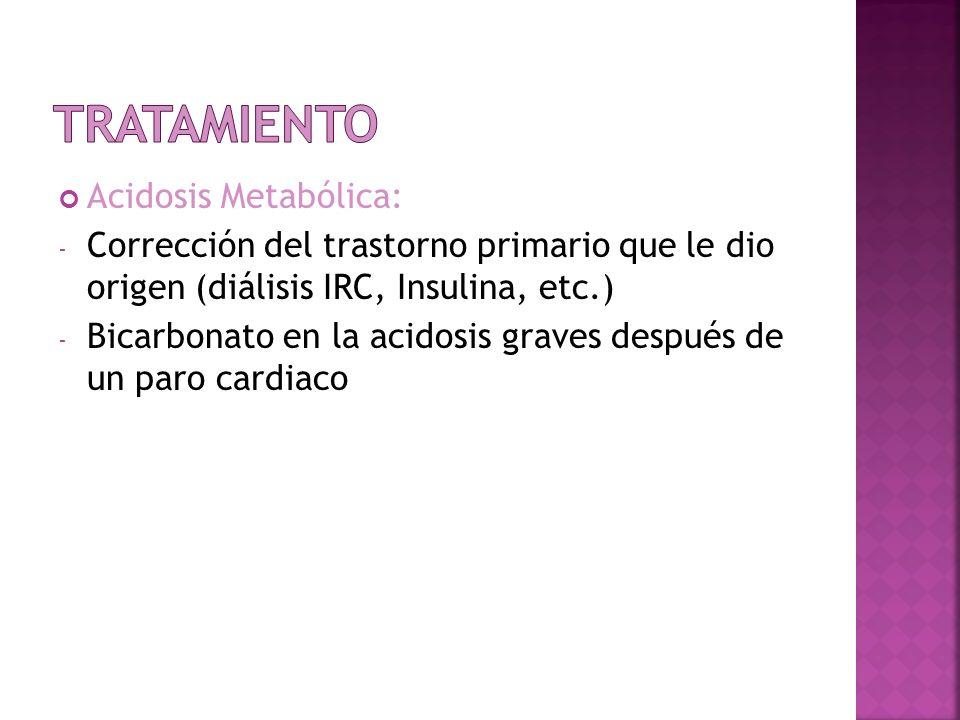 Acidosis Metabólica: - Corrección del trastorno primario que le dio origen (diálisis IRC, Insulina, etc.) - Bicarbonato en la acidosis graves después