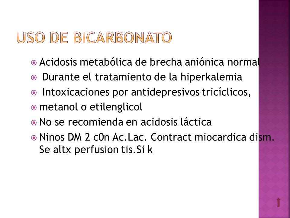 Acidosis metabólica de brecha aniónica normal Durante el tratamiento de la hiperkalemia Intoxicaciones por antidepresivos tricíclicos, metanol o etile