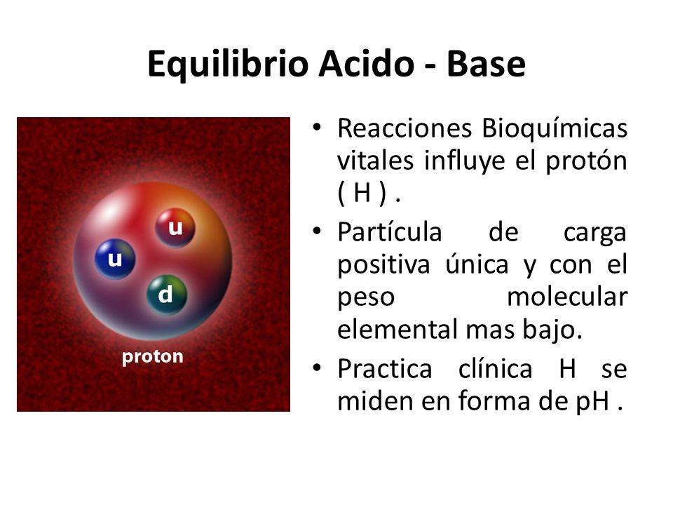 Equilibrio Acido - Base Reacciones Bioquímicas vitales influye el protón ( H ). Partícula de carga positiva única y con el peso molecular elemental ma