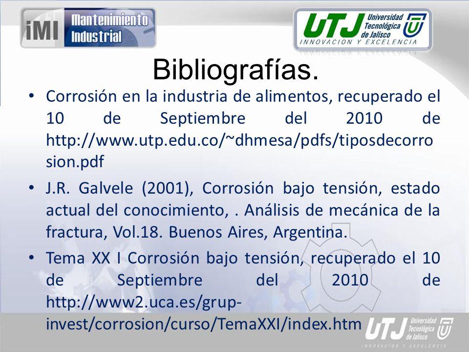 Corrosión en la industria de alimentos, recuperado el 10 de Septiembre del 2010 de http://www.utp.edu.co/~dhmesa/pdfs/tiposdecorro sion.pdf J.R. Galve