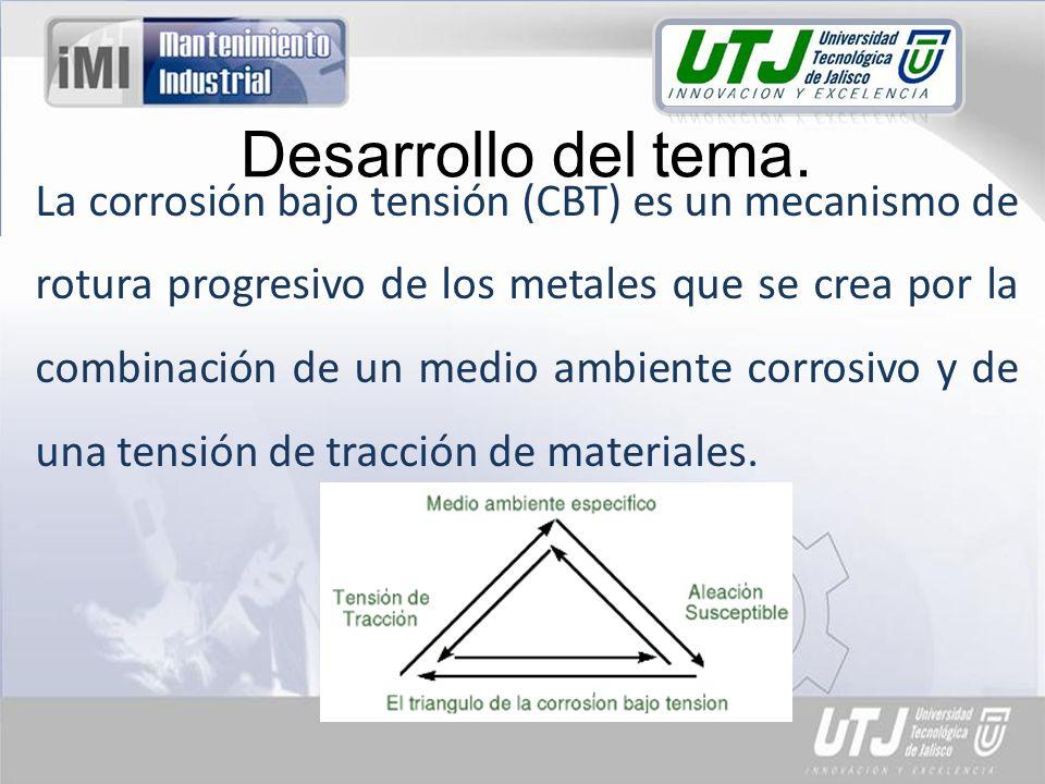 La corrosión bajo tensión (CBT) es un mecanismo de rotura progresivo de los metales que se crea por la combinación de un medio ambiente corrosivo y de