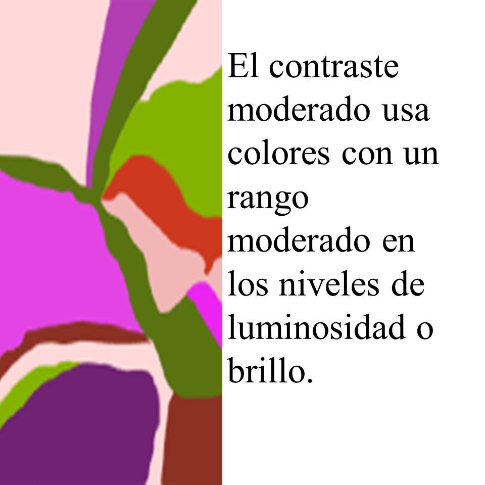 El contraste moderado usa colores con un rango moderado en los niveles de luminosidad o brillo.