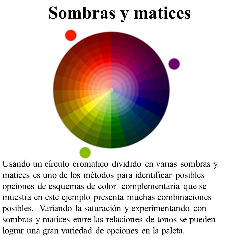 Usando un círculo cromático dividido en varias sombras y matices es uno de los métodos para identificar posibles opciones de esquemas de color complem