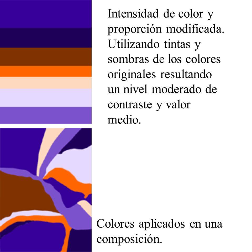 Intensidad de color y proporción modificada. Utilizando tintas y sombras de los colores originales resultando un nivel moderado de contraste y valor m