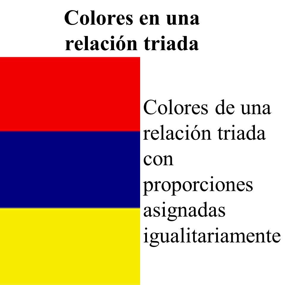 Colores de una relación triada con proporciones asignadas igualitariamente Colores en una relación triada