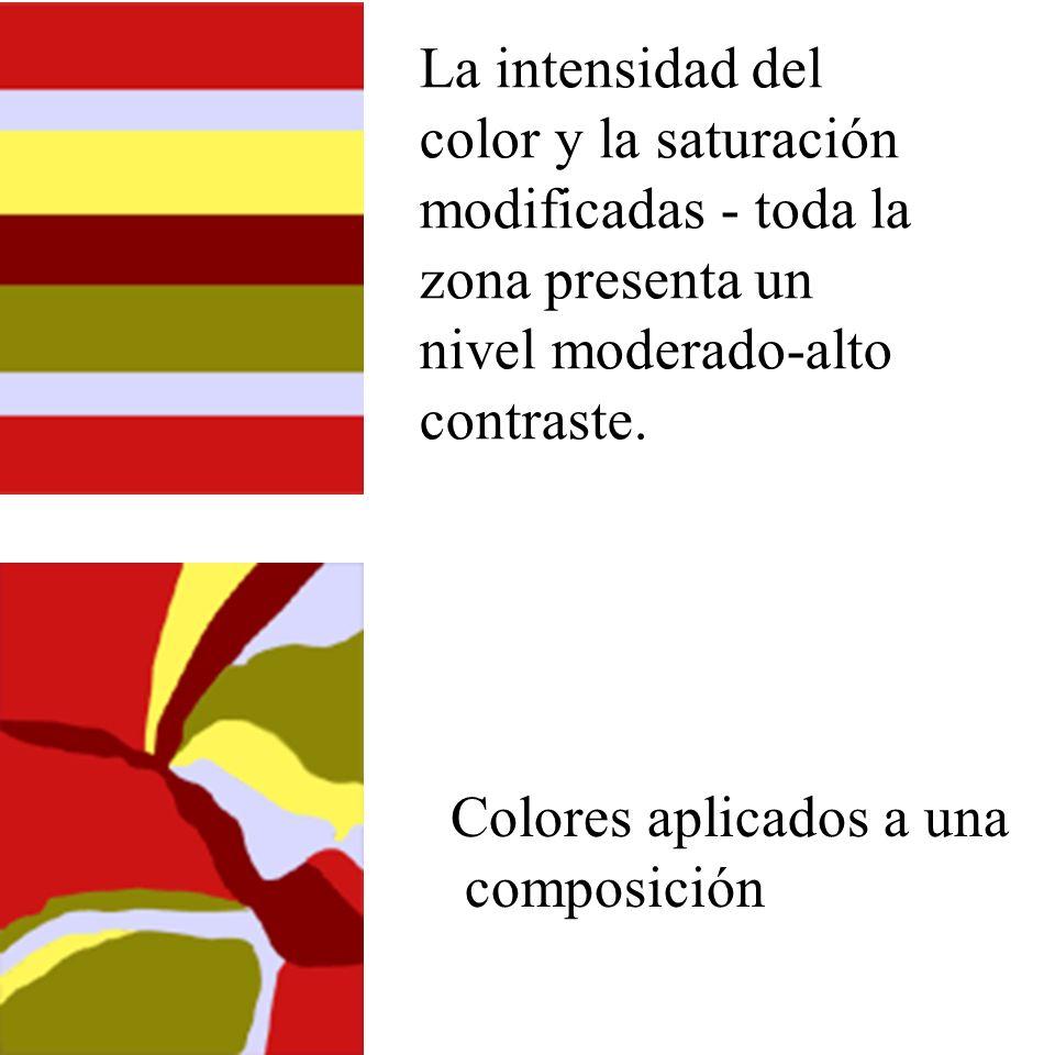 La intensidad del color y la saturación modificadas - toda la zona presenta un nivel moderado-alto contraste. Colores aplicados a una composición