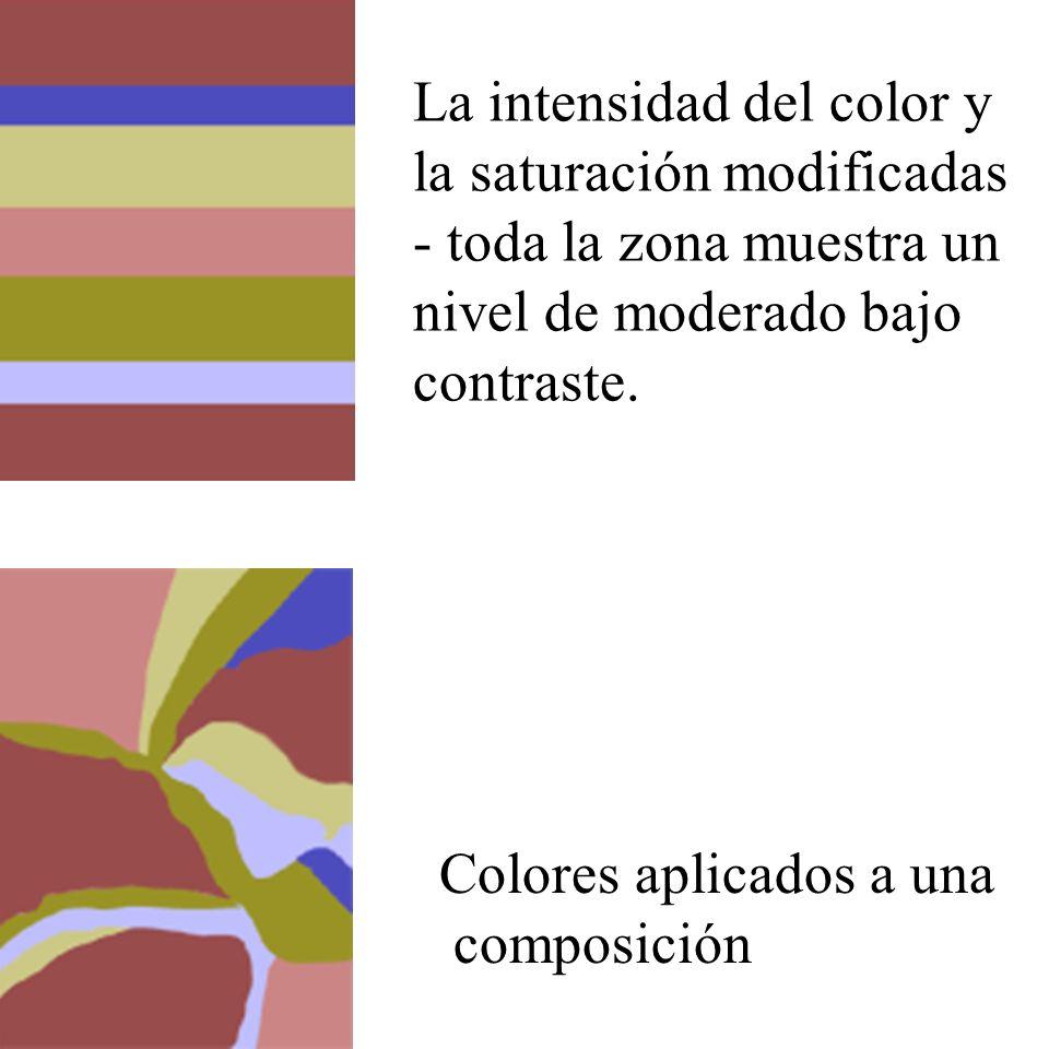 La intensidad del color y la saturación modificadas - toda la zona muestra un nivel de moderado bajo contraste. Colores aplicados a una composición