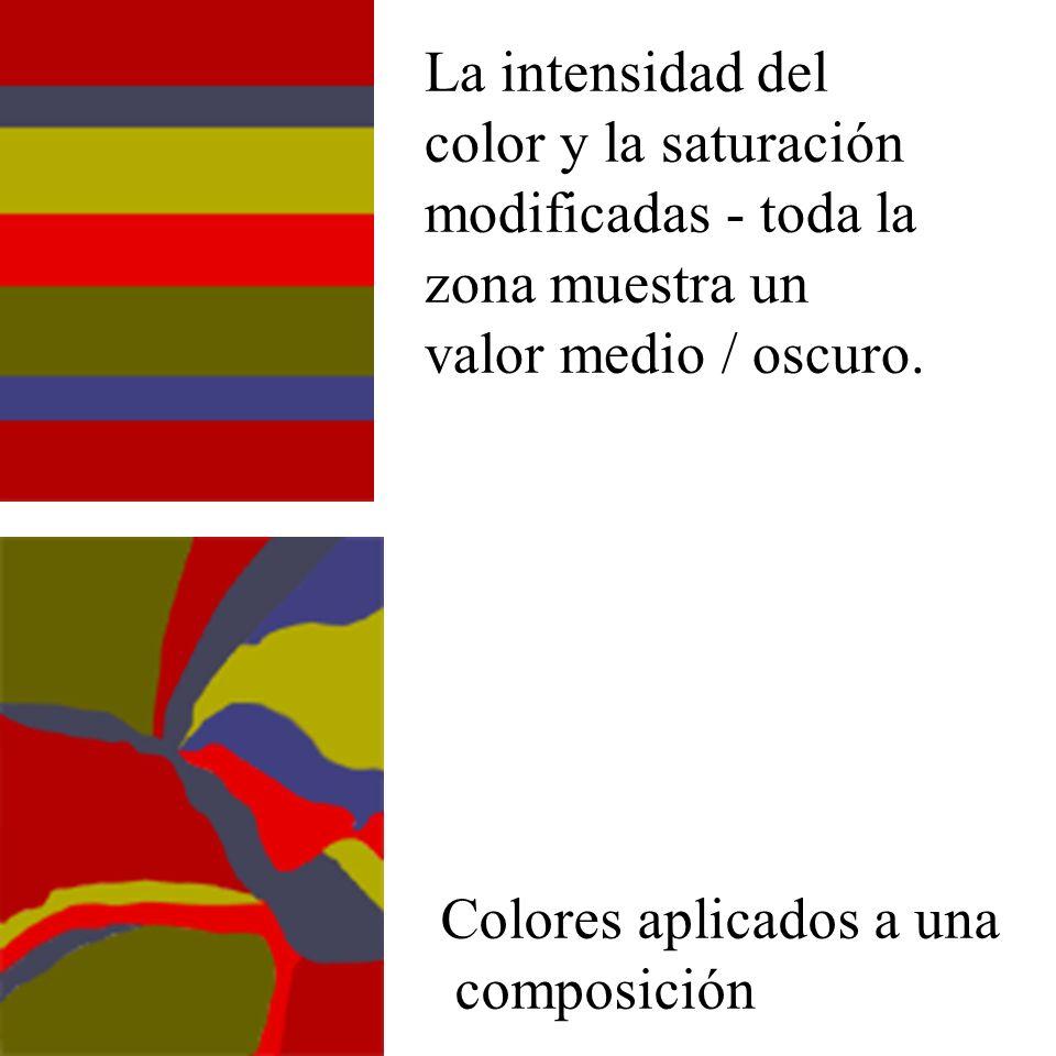 La intensidad del color y la saturación modificadas - toda la zona muestra un valor medio / oscuro. Colores aplicados a una composición