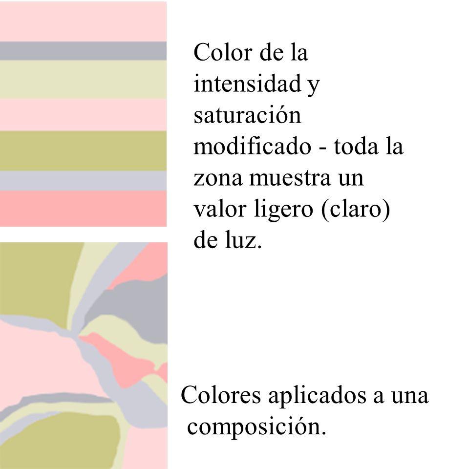 Color de la intensidad y saturación modificado - toda la zona muestra un valor ligero (claro) de luz. Colores aplicados a una composición.