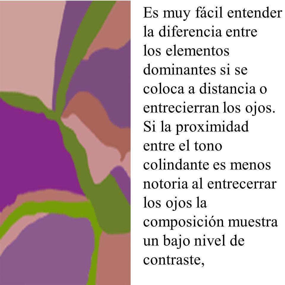 Es muy fácil entender la diferencia entre los elementos dominantes si se coloca a distancia o entrecierran los ojos. Si la proximidad entre el tono co