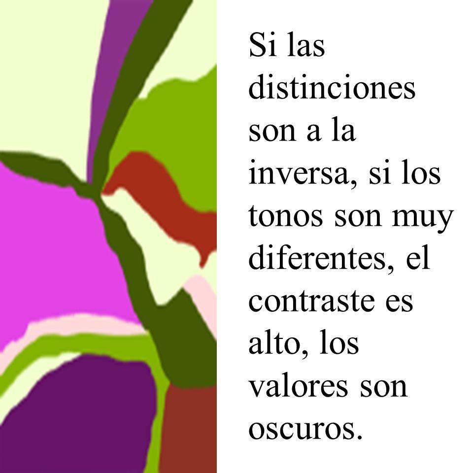 Si las distinciones son a la inversa, si los tonos son muy diferentes, el contraste es alto, los valores son oscuros.