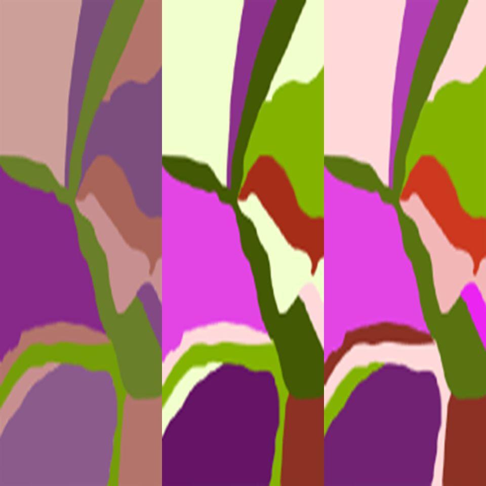 Moderado alto contraste-valor medio, composición usando tonos completamente saturados.