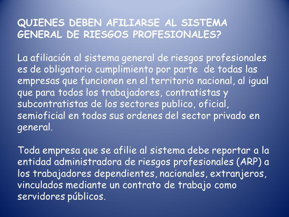 CUALES SON LOS OBJETIVOS DEL SISTEMA GENERAL DE RIESGOS PROFESIONALES? *Establecer actividades de promocion y prevencion tendientes a mejorar las cond