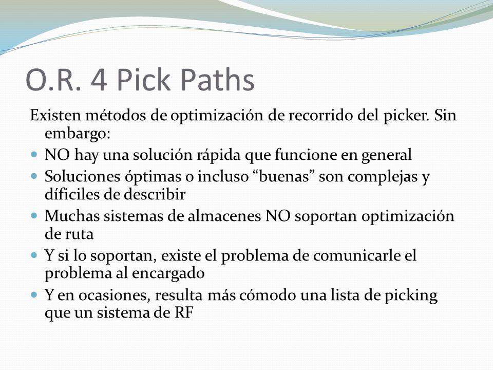 O.R. 4 Pick Paths Existen métodos de optimización de recorrido del picker. Sin embargo: NO hay una solución rápida que funcione en general Soluciones
