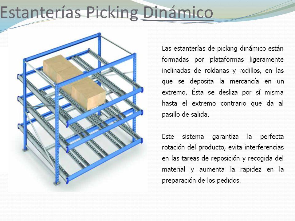 Estanterías Picking Dinámico Las estanterías de picking dinámico están formadas por plataformas ligeramente inclinadas de roldanas y rodillos, en las que se deposita la mercancía en un extremo.