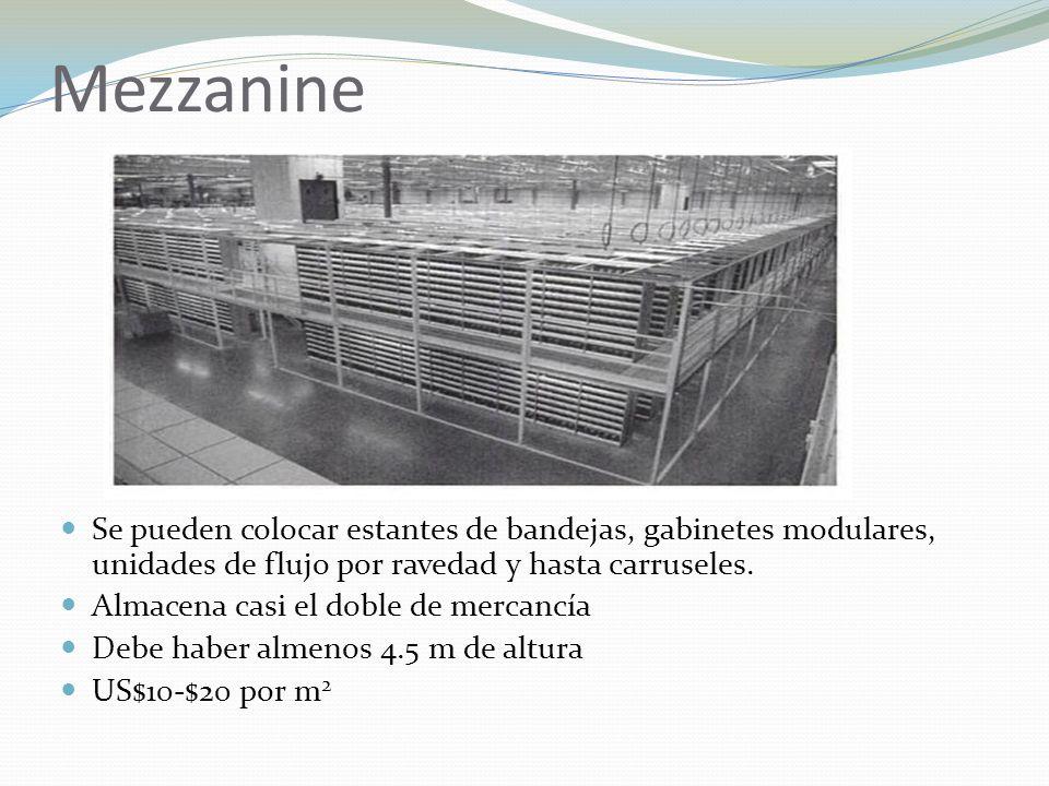 Mezzanine Se pueden colocar estantes de bandejas, gabinetes modulares, unidades de flujo por ravedad y hasta carruseles.
