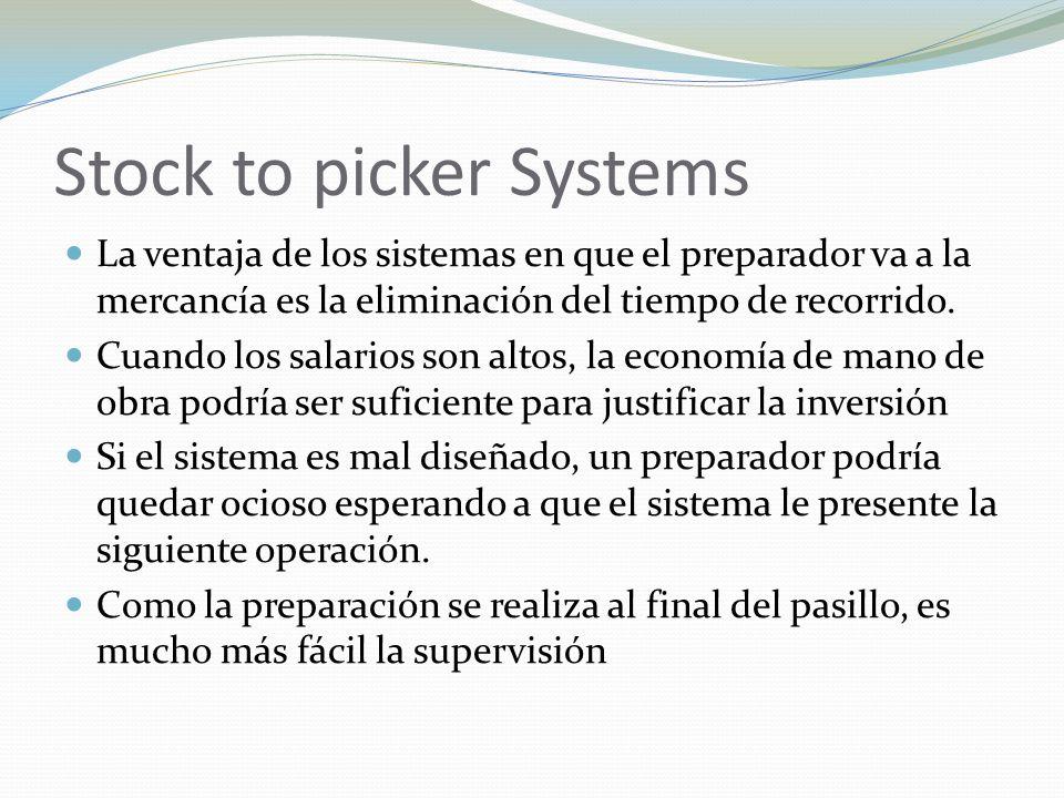Stock to picker Systems La ventaja de los sistemas en que el preparador va a la mercancía es la eliminación del tiempo de recorrido. Cuando los salari