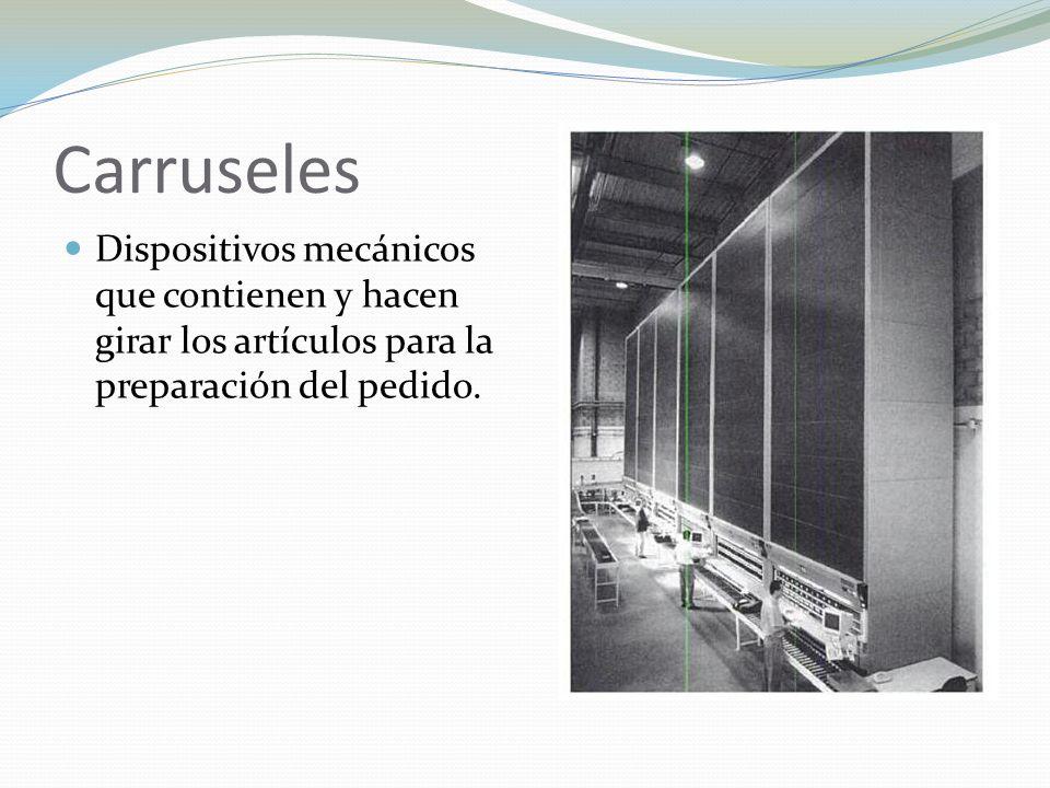 Carruseles Dispositivos mecánicos que contienen y hacen girar los artículos para la preparación del pedido.