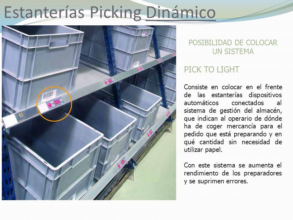 Estanterías Picking Dinámico POSIBILIDAD DE COLOCAR UN SISTEMA PICK TO LIGHT Consiste en colocar en el frente de las estanterías dispositivos automáti