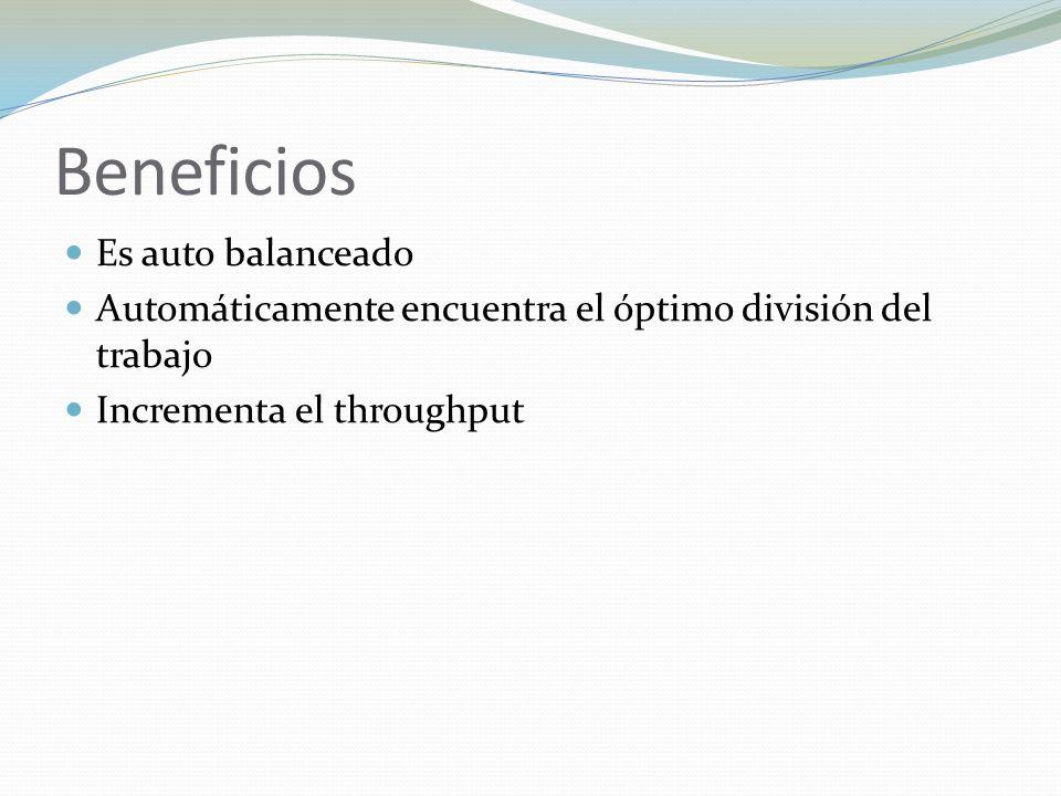 Beneficios Es auto balanceado Automáticamente encuentra el óptimo división del trabajo Incrementa el throughput