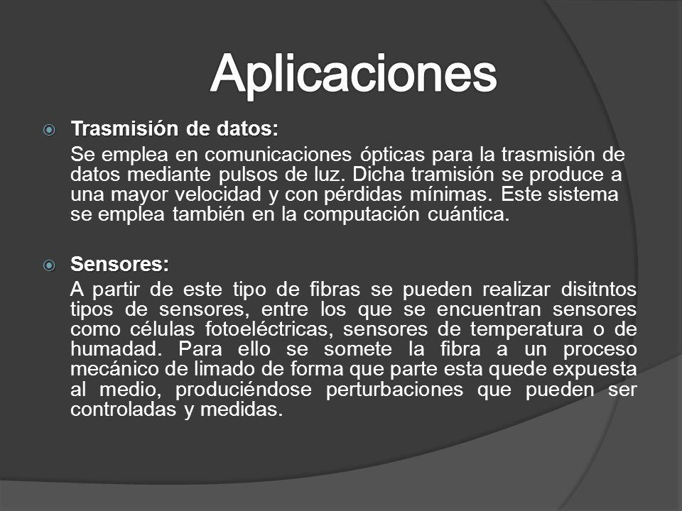 Trasmisión de datos: Trasmisión de datos: Se emplea en comunicaciones ópticas para la trasmisión de datos mediante pulsos de luz. Dicha tramisión se p