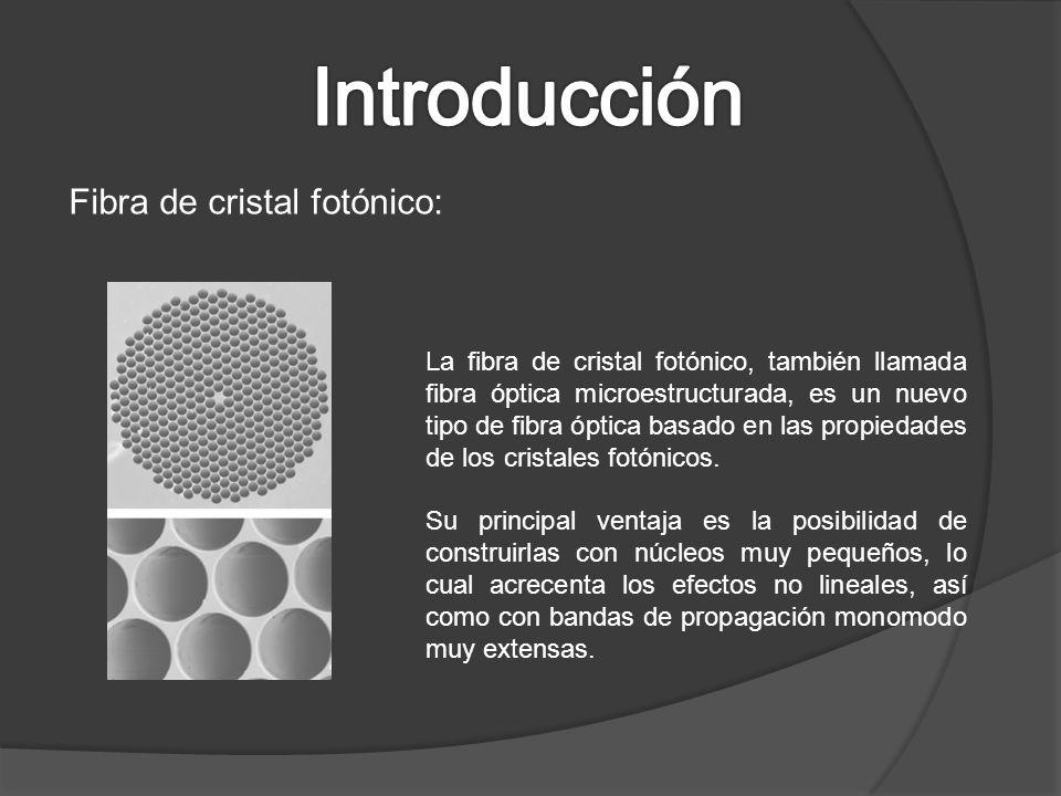Fibra de cristal fotónico: La fibra de cristal fotónico, también llamada fibra óptica microestructurada, es un nuevo tipo de fibra óptica basado en la
